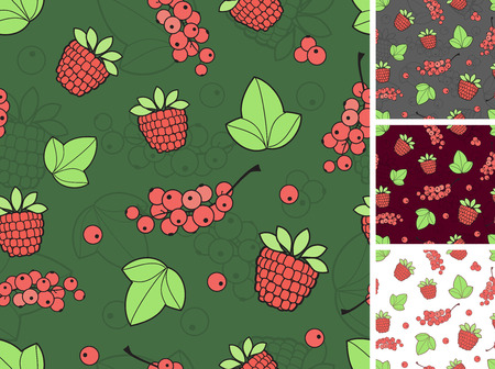 seamless background consisting of berries and leaves Vector