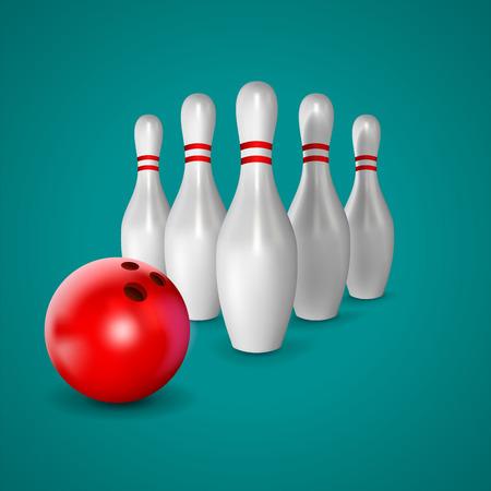 Boule de bowling et quilles Banque d'images - 40706940