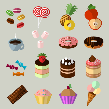 marshmallows: Sweets icons set in flat style Illustration