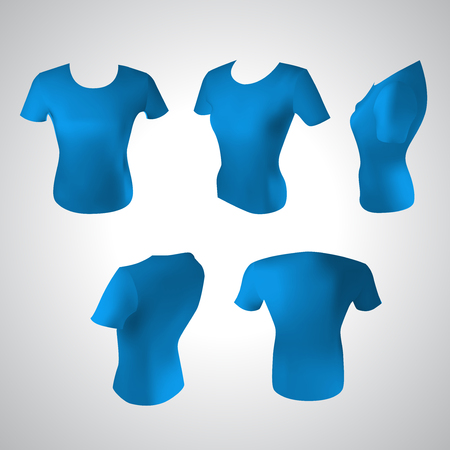 t shirt printing: Set vector illustration of blue women t-shirt