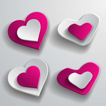 hearts background: Set paper hearts background. Vector illustration