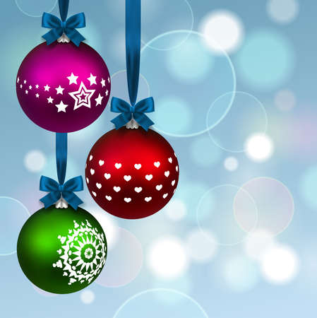 three christmas balls on background Vector