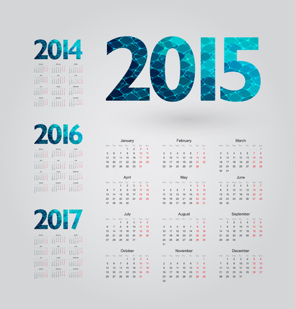simple calendar with figures of geometric shapes