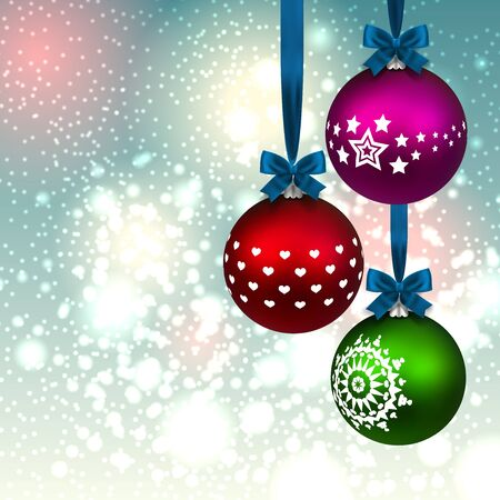 three christmas balls on background Vector