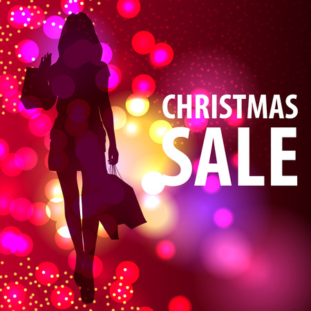 christmas shopping bag: Illustration of a young woman shopping for Christmas.