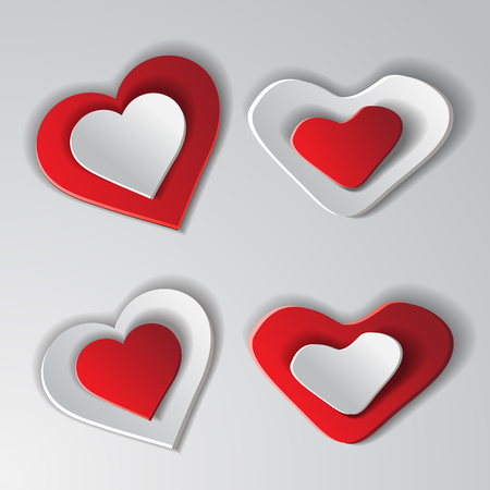 Set paper hearts background. Vector illustration Vector
