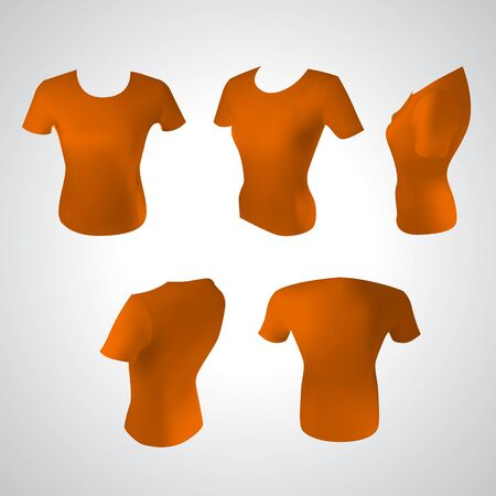 t shirt printing: Vector illustration of orange women