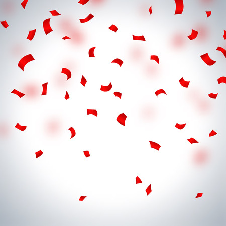 Red paper confetti on a light background, vector illustration