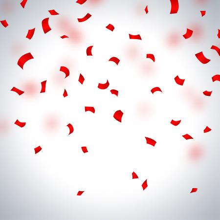 confetti: Red paper in flight  on a light background, vector illustration Illustration