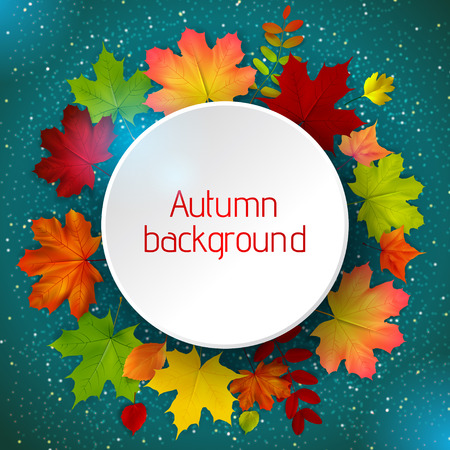 Round border of various autumn leaves on blue, vector illustration