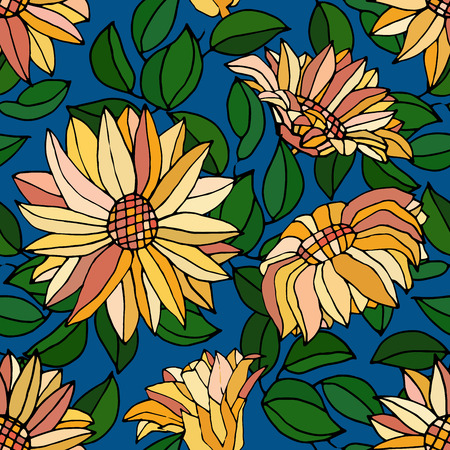daisyflower: seamless pattern with yellow flower, vector illustration