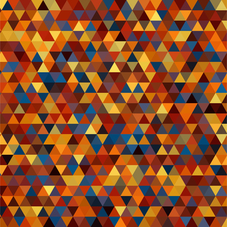 scavenge: abstract background consisting of small orange, yellow, blue, brown  triangles, vector illustration