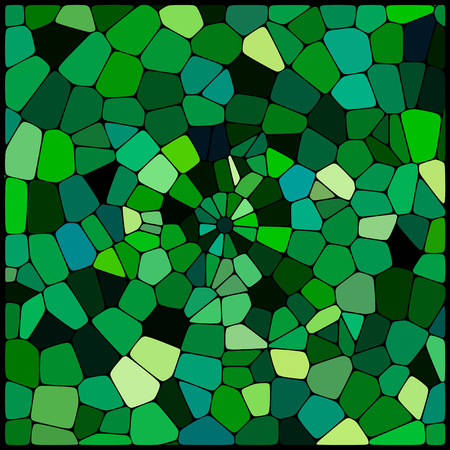 cobble: abstract background consisting of of green geometrical shapes with thick black borders, vector illustration