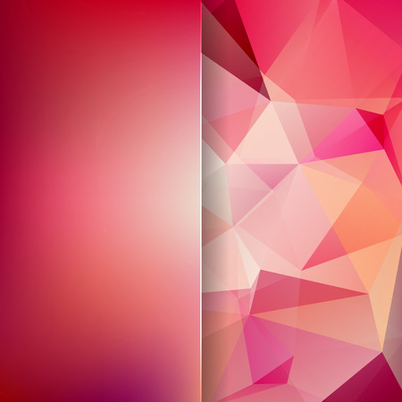 abstract background consisting of red, orange. pink triangles and matt glass, vector illustration