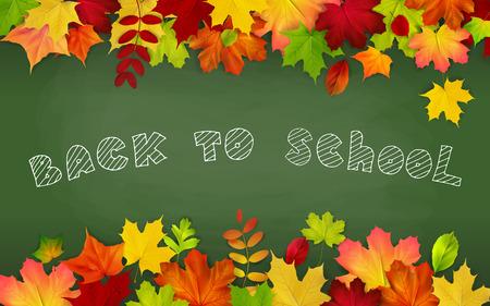 intermediate: Back to school, written on blackboard with autumn leaves, vector illustration. Illustration