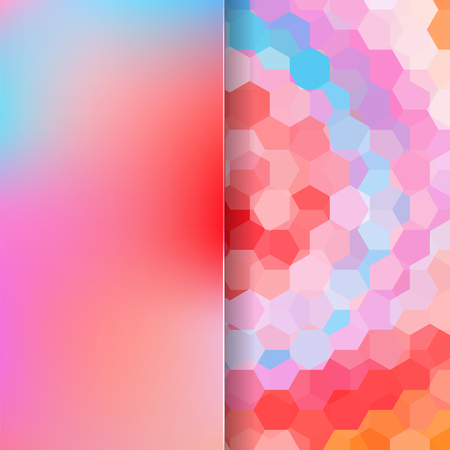 orange background abstract: abstract background consisting of red, pink, blue, orange hexagons, vector illustration Illustration