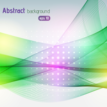 green lines: Colorful smooth light lines background. Yellow, pink, green colors. Vector illustration