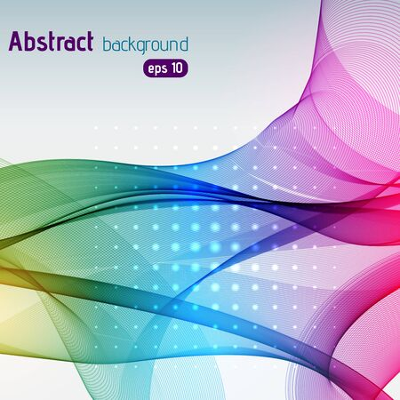 curve line: Colorful smooth light lines background. Rainbow-colored. Vector illustration