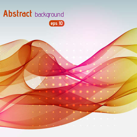 jaune rouge: Colorful smooth light lines background. Red, yellow, orange colors. Vector illustration