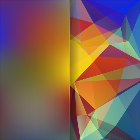violet red: abstract background consisting of yellow, red, brown, blue, violet triangles and matt glass, vector illustration Illustration