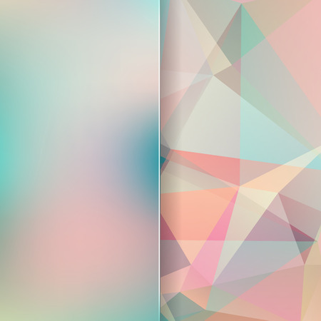 abstract background consisting of pastel green, pink triangles and matt glass, vector illustration