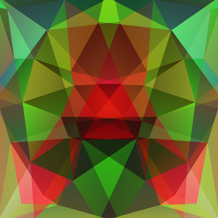 variegated: abstract background consisting of red, green triangles, vector illustration