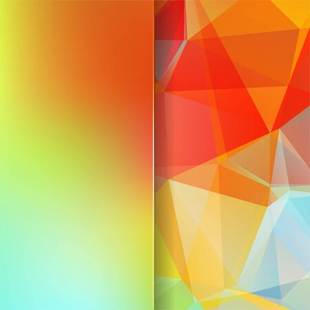 abstract background consisting of red, green triangles and matt glass, vector illustration