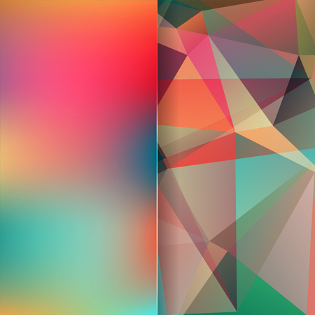 matt: abstract background consisting of red, green triangles and matt glass, vector illustration