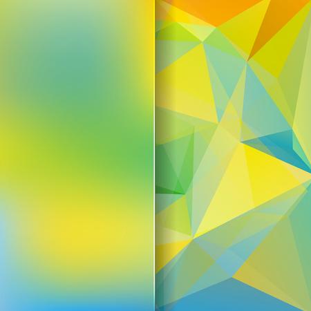 matt: abstract background consisting of yellow, green, blue triangles and matt glass, vector illustration Illustration