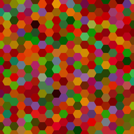 red' green: abstract background consisting of red, green, brown hexagons, vector illustration