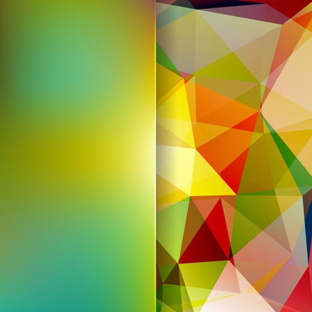 matt: abstract background consisting of yellow, green, red triangles and matt glass, vector illustration