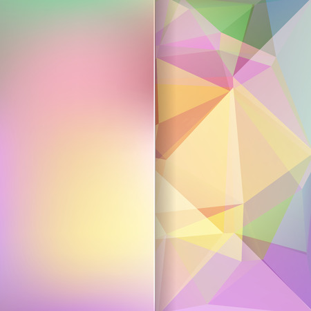 matt: abstract background consisting of pastel yellow, pink, green triangles and matt glass, vector illustration Illustration