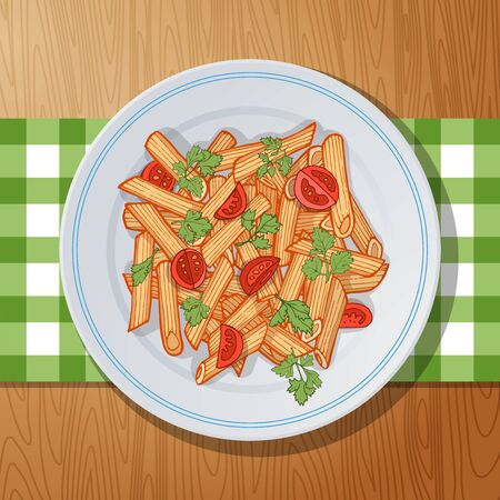 bolognese: penne rigate pasta with cherry tomatoes and parsley on a wooden table. Top view