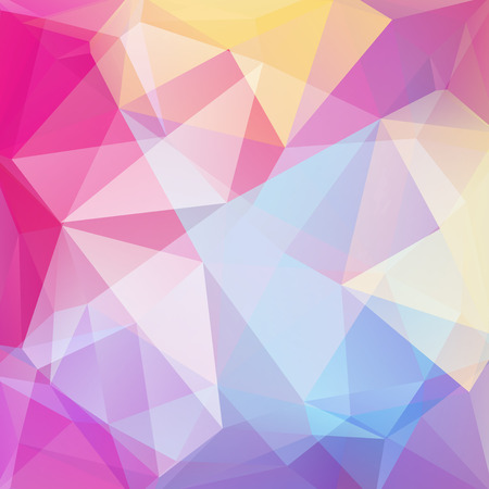 color design: Polygonal vector background. Pink, yellow, blue, white color. Can be used in cover design, book design, website background. Vector illustration Illustration