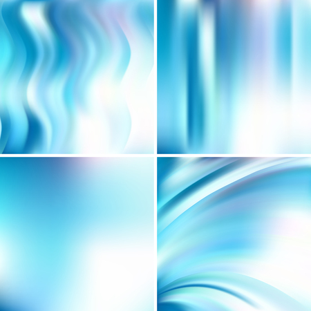sain: Abstract vector illustration of colorful background with blurred light lines. Set of four square backgrounds. Curved lines.