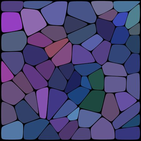 rounded edges: Abstract background consisting of black lines with rounded edges of different sizes and blue, purple geometrical shapes. Vector illustration. Illustration