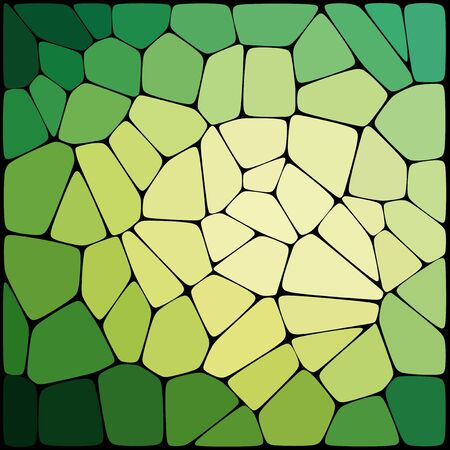 rounded edges: Abstract background consisting of black lines with rounded edges of different sizes and green geometrical shapes. Vector illustration.
