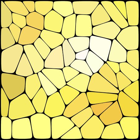 rounded edges: Abstract background consisting of black lines with rounded edges of different sizes and yellow geometrical shapes. Vector illustration.