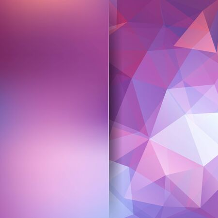 Polygonal vector background. Pink, white, purple colors. Blur background. Can be used in cover design, book design, website background. Vector illustration