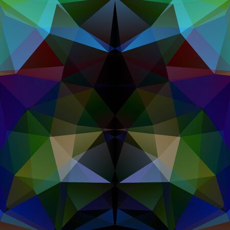 square composition: Background made of triangles. Dark green, blue, beige, brown colors. Square composition with geometric shapes.