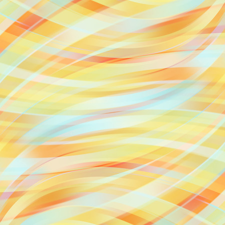 Vector illustration of pastel abstract background with blurred light curved lines. Pastel orange, yellow, blue colors.