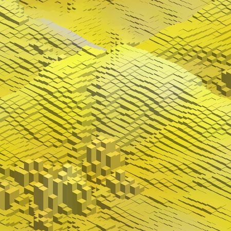 cubicle: Abstract background with cube decoration. Vector illustration. Yellow colors. Illustration