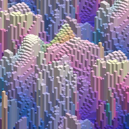 forme geometrique: 3d fond pastel avec des cubes. rose, couleurs bleu. Vecteur