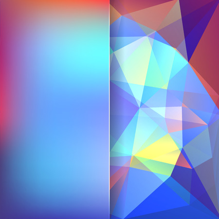 abstract background consisting of blue, white, pink triangles and matt glass, vector illustration