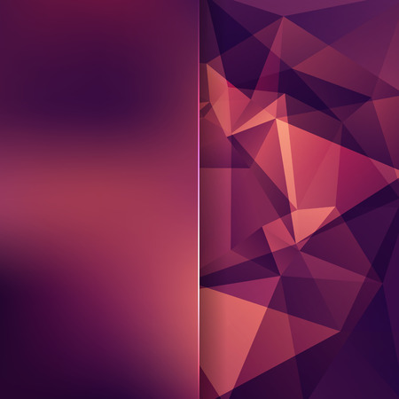 abstract background consisting of purple, orange, brown triangles and matt glass, vector illustration