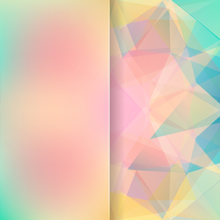 baby blue: abstract background consisting of pink, blue, yellow triangles and matt glass, vector illustration