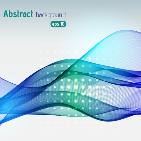 Abstract background with smooth lines. Color waves, pattern, art, technology wallpaper, technology background. Vector illustration. Blue, green colors. Vettoriali
