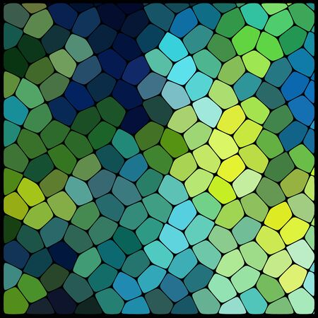 rounded edges: Abstract background consisting of black lines with rounded edges of different sizes and green geometrical shapes. Vector illustration. Green, blue colors.
