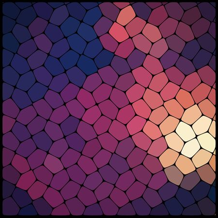 rounded edges: Abstract background consisting of black lines with rounded edges of different sizes and brown geometrical shapes. Vector illustration. Brown, orange, purple colors.