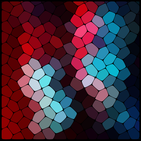 mosaic: Abstract colorful mosaic pattern. Red, blue, black colors.  Abstract background consisting of elements of different shapes arranged in a mosaic style. Vector illustration.